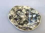 Small tapas/breakfast porcelain plate with black and white pattern